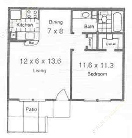 550 sq. ft. A2 floor plan
