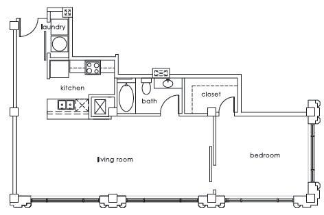 1,003 sq. ft. GS Plan D floor plan