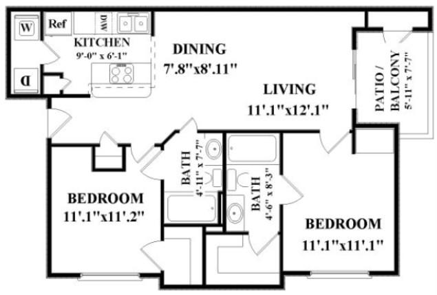 949 sq. ft. COLORADO floor plan
