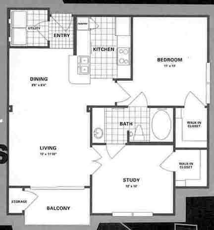 831 sq. ft. B1P floor plan