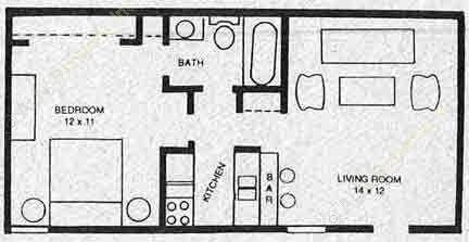 504 sq. ft. A2M floor plan