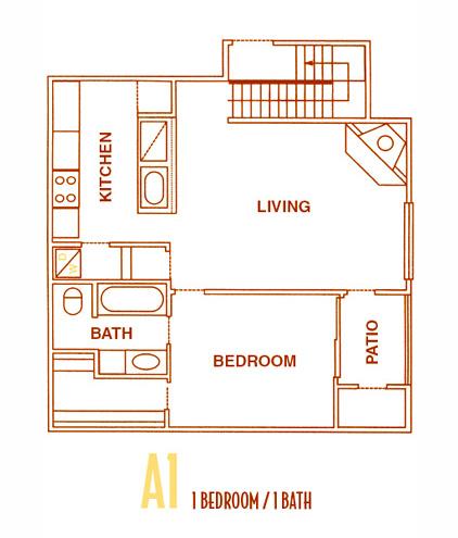 600 sq. ft. A1 - A1U floor plan