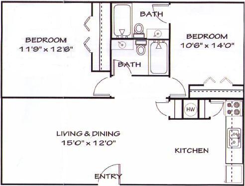 950 sq. ft. C1 floor plan