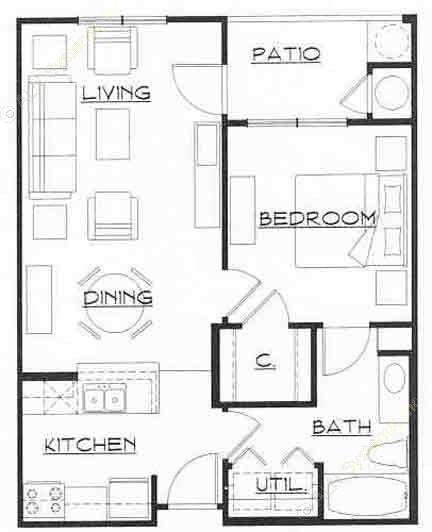 650 sq. ft. ALLEGRO floor plan