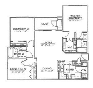 1,130 sq. ft. C1 floor plan