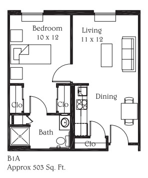 503 sq. ft. B4A floor plan