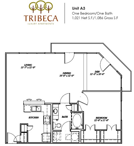 1,021 sq. ft. Canal floor plan