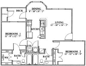 882 sq. ft. B1 floor plan