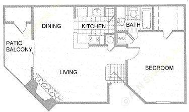 694 sq. ft. to 740 sq. ft. 1C/1D floor plan