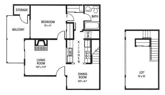 880 sq. ft. B floor plan