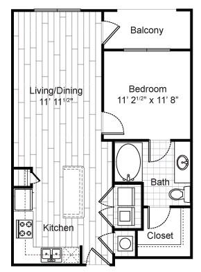 698 sq. ft. A2 floor plan