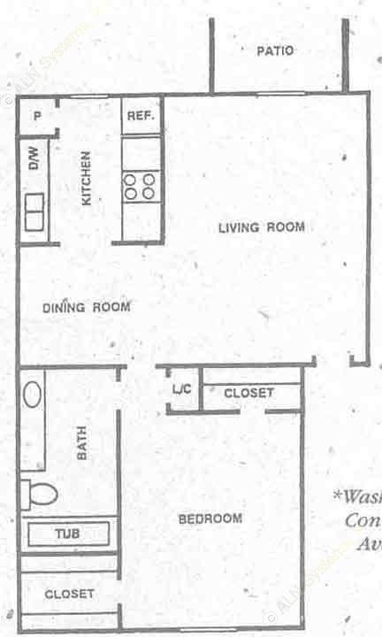 733 sq. ft. A3 floor plan