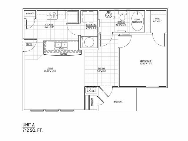 712 sq. ft. 30 floor plan
