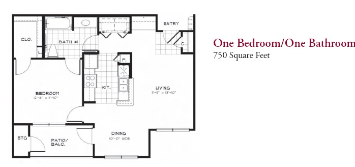 750 sq. ft. 50 floor plan