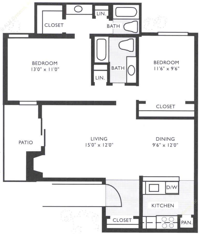 922 sq. ft. B2 floor plan