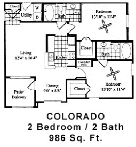 986 sq. ft. COLORADO floor plan