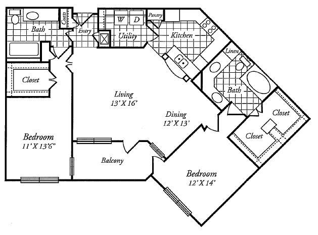 1,317 sq. ft. E floor plan