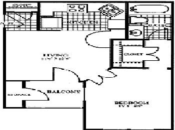 491 sq. ft. CORNERSTONE floor plan