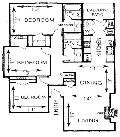 1,239 sq. ft. C1 floor plan