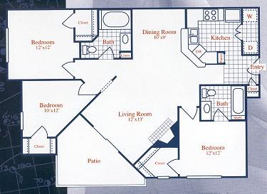 1,105 sq. ft. WINDJAMMER floor plan