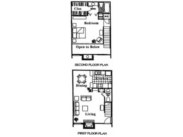 833 sq. ft. D floor plan