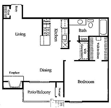 729 sq. ft. RW A-2 floor plan