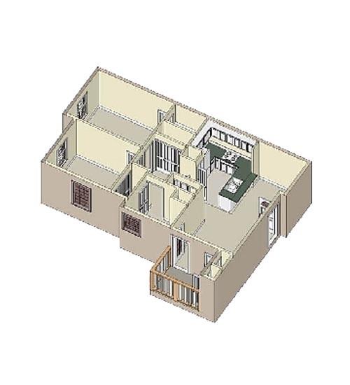 690 sq. ft. floor plan