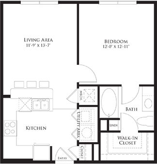 650 sq. ft. 6A2 floor plan