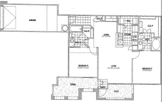 1,025 sq. ft. E1 floor plan