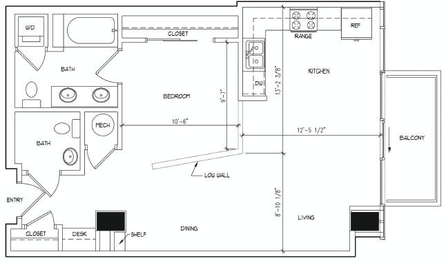 748 sq. ft. DEGAS floor plan