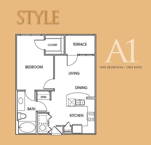 675 sq. ft. A1 floor plan