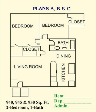 945 sq. ft. to 950 sq. ft. floor plan