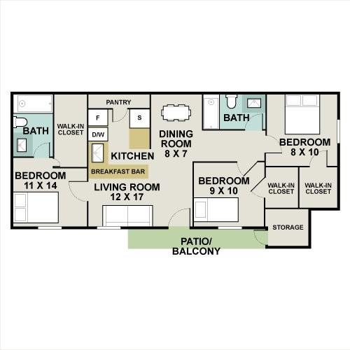 1,088 sq. ft. ELM floor plan