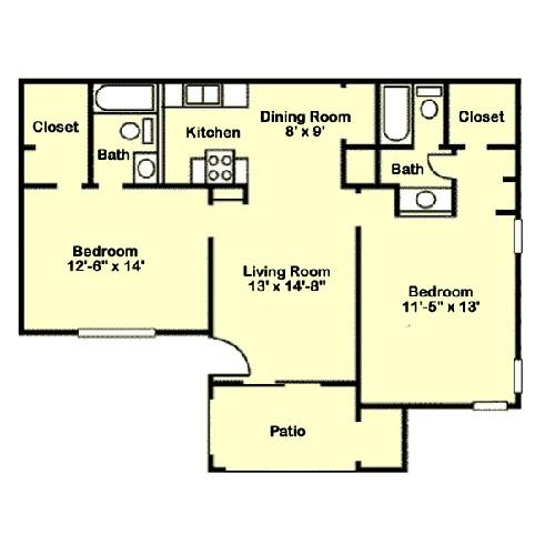 915 sq. ft. B2 floor plan