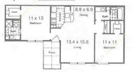 855 sq. ft. B1 floor plan