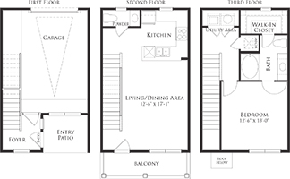 974 sq. ft. 6THA3G floor plan