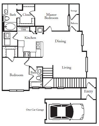 1,103 sq. ft. PENINSULA floor plan