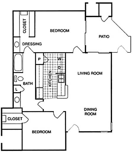 872 sq. ft. DLU floor plan