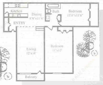 907 sq. ft. B1 floor plan