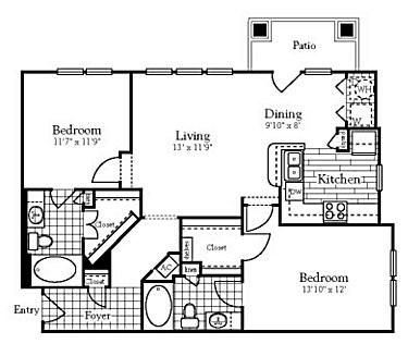 1,046 sq. ft. to 1,063 sq. ft. B2 floor plan