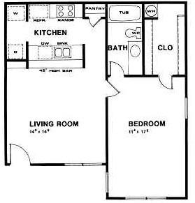 708 sq. ft. B floor plan