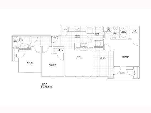 1,142 sq. ft. 60 floor plan