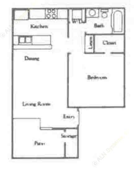 550 sq. ft. A1 & A2/60% floor plan