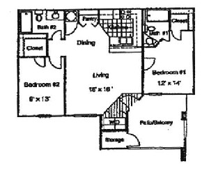 700 sq. ft. 60% floor plan