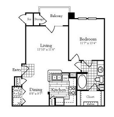 726 sq. ft. A2 floor plan