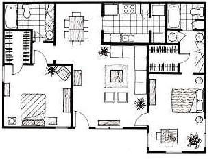 1,152 sq. ft. D floor plan