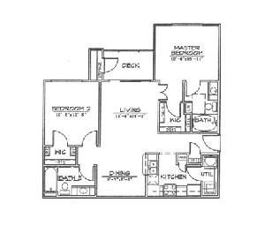 967 sq. ft. B2 floor plan