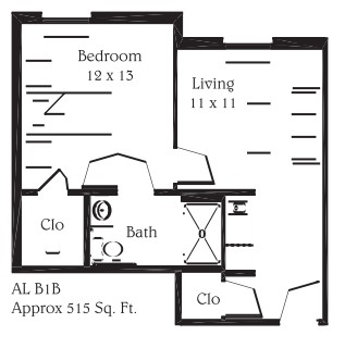 515 sq. ft. B1B floor plan