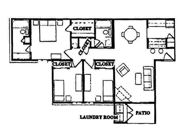 1,050 sq. ft. Matagorda floor plan