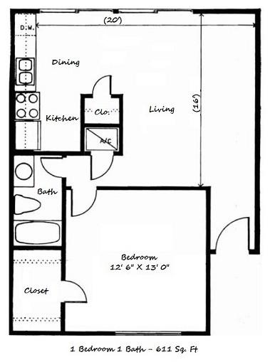 611 sq. ft. C floor plan